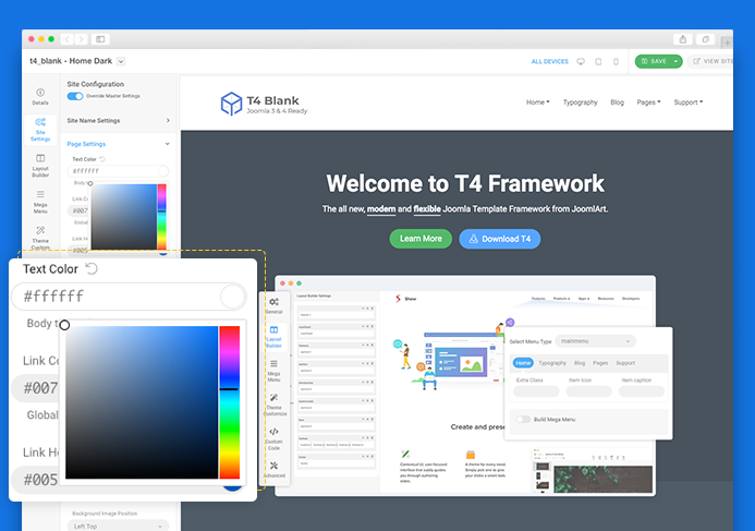 T4 Joomla framework real time preview