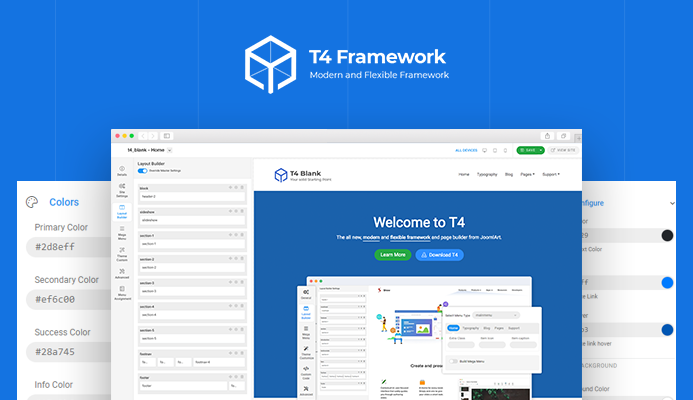 HOT: T4 Framework - The all new modern and flexible Joomla template framework Preview is available for download