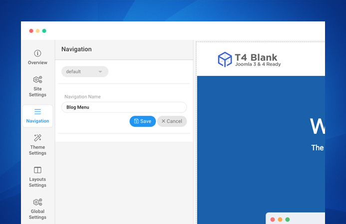 T4 Joomla template navigation setting