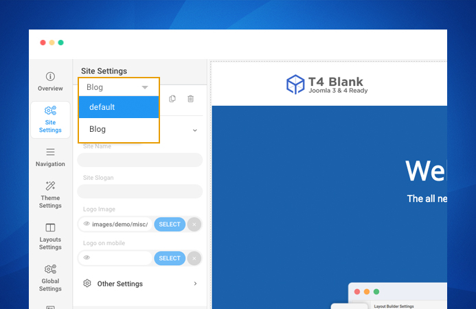 T4 Joomla template framework site settings profile