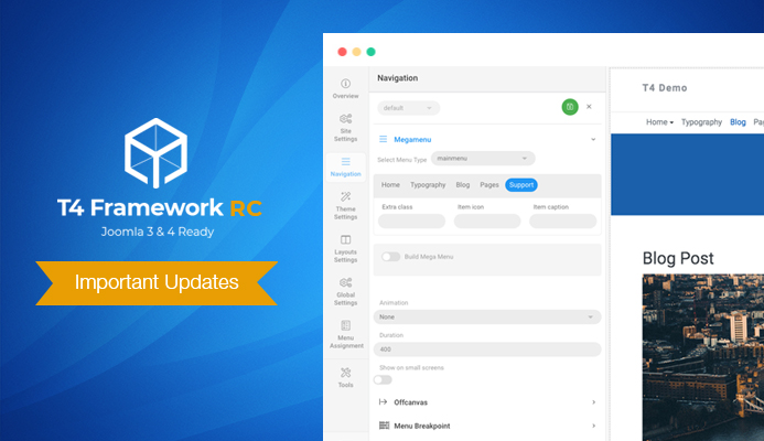T4 Joomla Framework RC: Navigation & Site Settings profile and more important updates