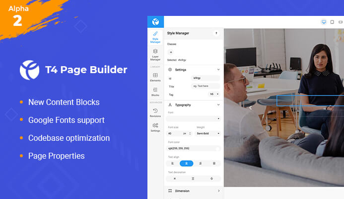 drag and drop Joomla page builder content block