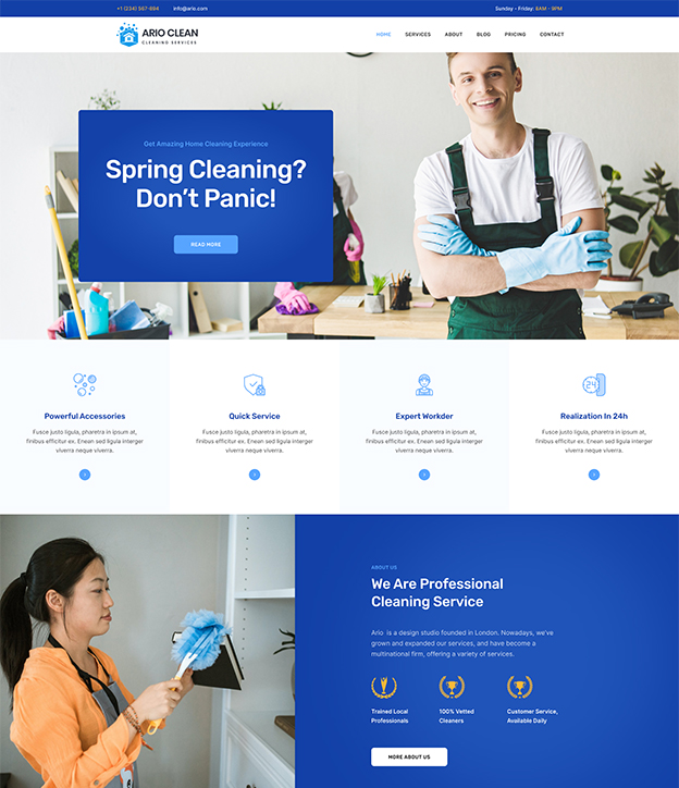 Joomla page builder for cleaning service website