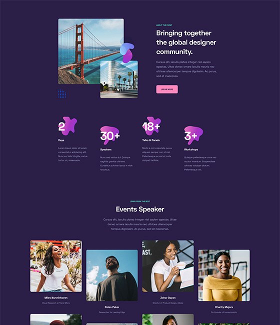 Joomla page builder for events and conference
