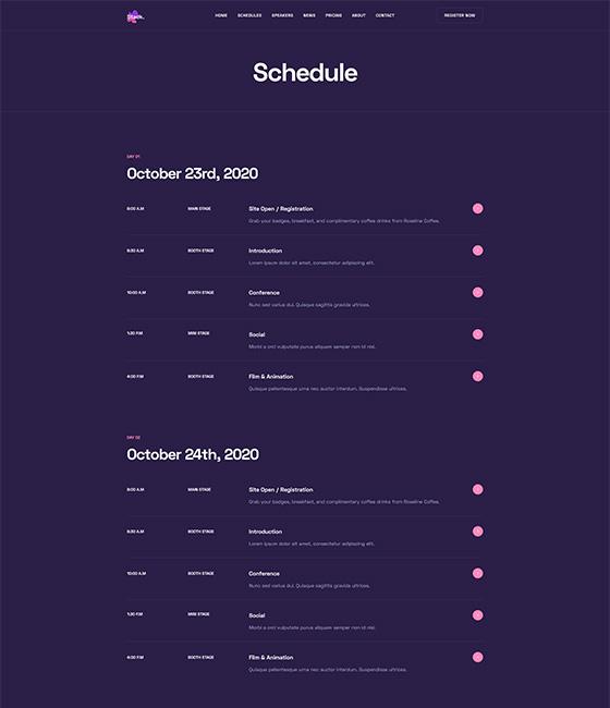 events schedule joomla template