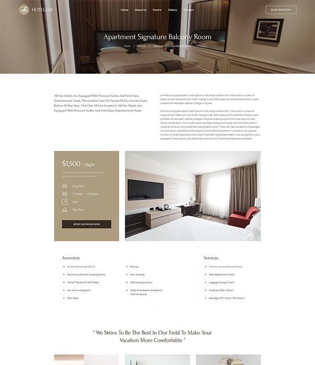 Joomla room detail page template