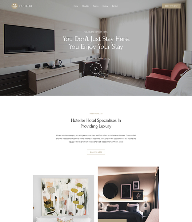 Joomla page builder for hotel and resort