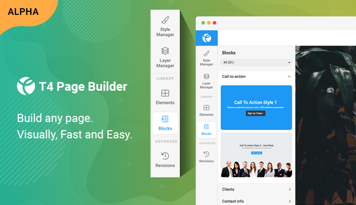 T4 Joomla page builder alpha release