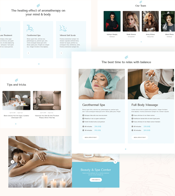 joomla page builder content blocks for beauty salon website