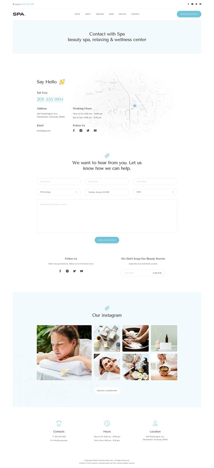 joomla spa and beauty salon contact page