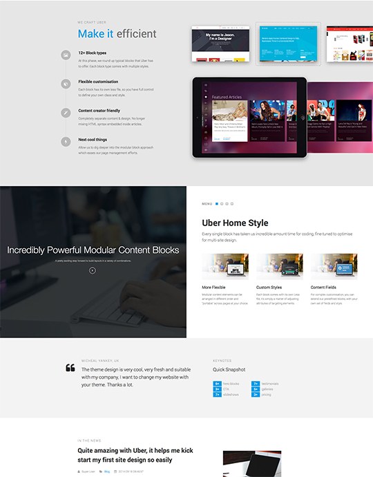 Responsive business Joomla template - UBER