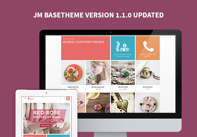 Magento extension JM Basetheme V1.1.0 with mobile & tablet settings