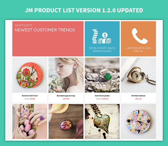 Magento extension JM Product List V1.2.0: features added