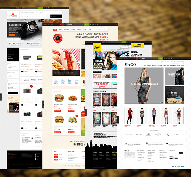 2nd batch: 4 more responsive Magento themes updated for Magento 1.8
