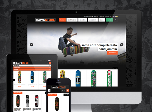 Sports Magento theme JM Hawkstore is now responsive