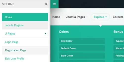 Responsive Joomla template with Megamenu and Off-canvas menu