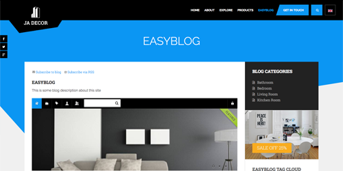 Responsive Joomla template - JA Decor supports EasyBlog