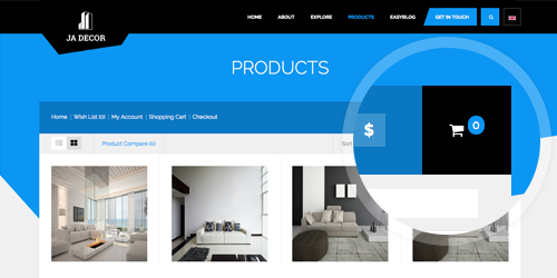 Responsive Joomla template - JA Decor supports Mijoshop component