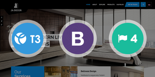 Responsive Joomla template - JA Decor built on the latest T3 Framework compatible with Bootstrap 3
