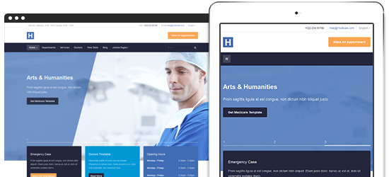Fully responsive Joomla 3 template for healthcare