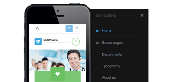 Megamenu and Off-canvas menu in the Responsive Joomla template - JA Medicare