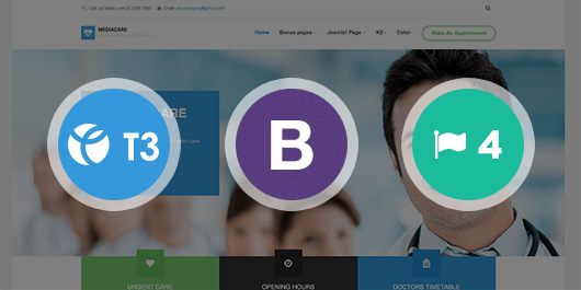 Responsive Joomla template - JA Medicare built on the latest T3 Framework compatible with Bootstrap 3