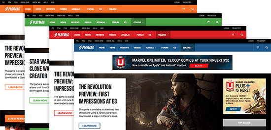 Responsive Joomla template - JA Playmag and its 4 colors by default