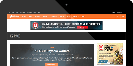 Responsive Joomla template - JA Playmag supports K2 Component