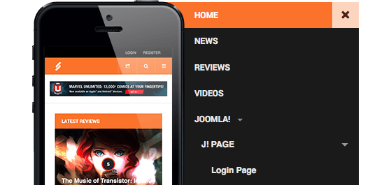 Megamenu and Off-canvas menu in the Responsive Joomla template - JA Playmag