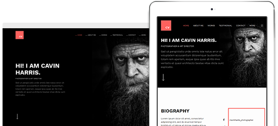 responsive Joomla template for Resume and Portfolio