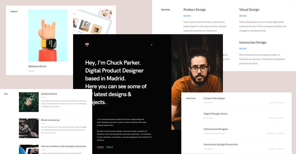Designed for CV resume and portfolio Websites