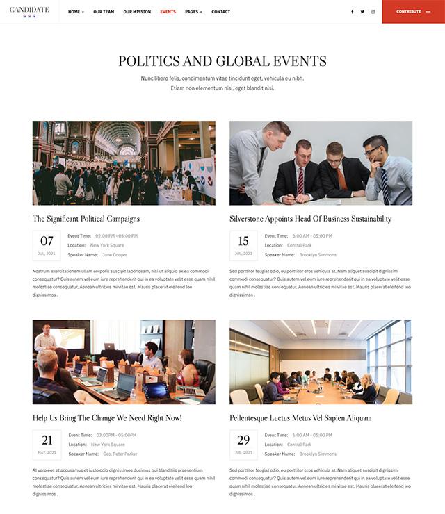 Joomla Political template events - JA Candidate