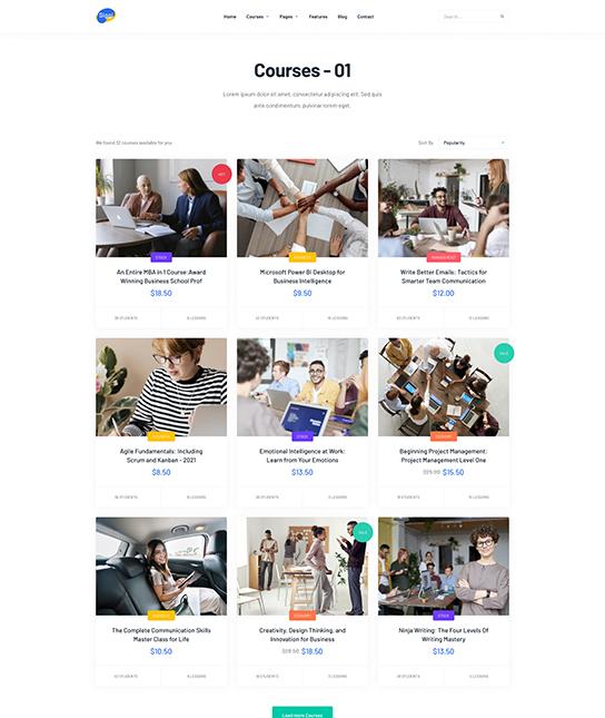 Joomla Coach template Course list- JA Coach
