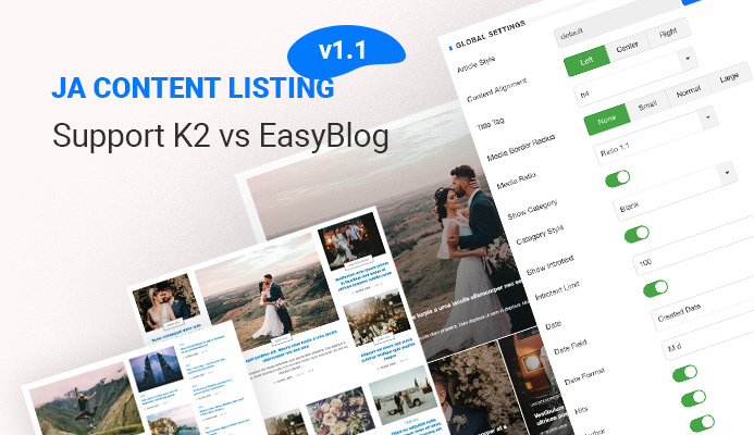 [Update] JA Content Listing Module supports K2, EasyBlog, and more