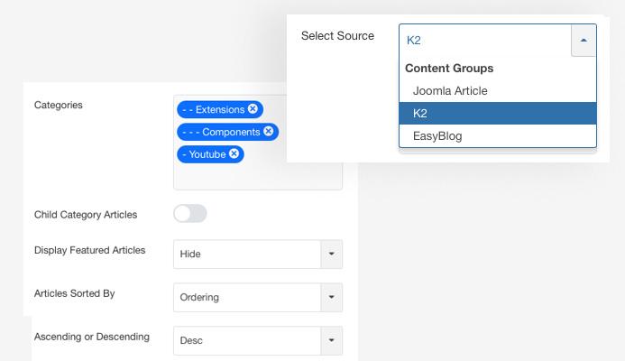 JA Content listing Joomla article display category setting