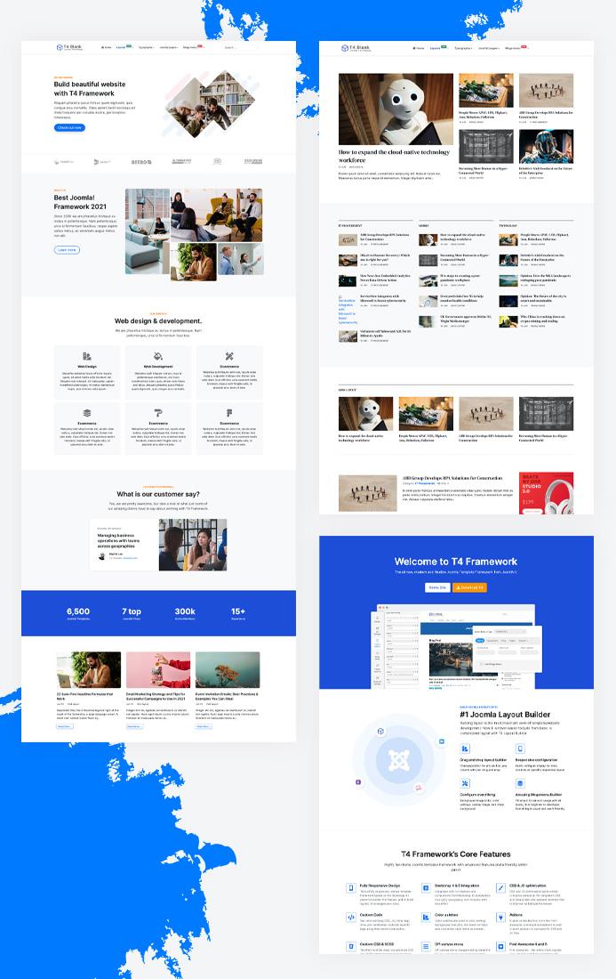 t4 joomla template framework multiple layouts support