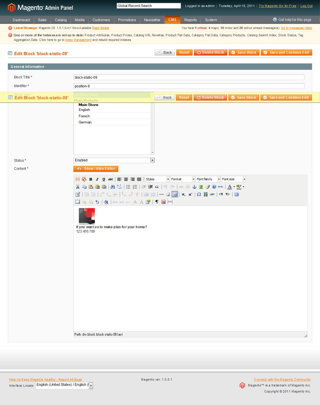 German customer account create/admin/Cms_Wysiwyg/directive - Back End Settings