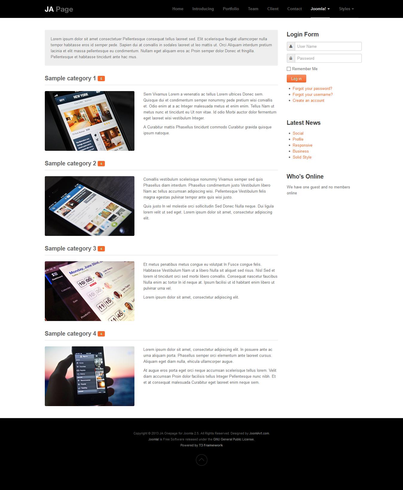 JA epage Joomla template documentation
