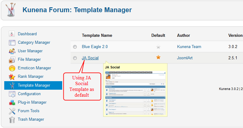 JA Social template backend