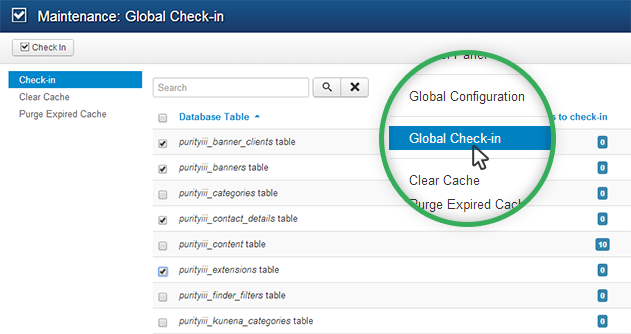 Joomla site maintenance Global Check-in