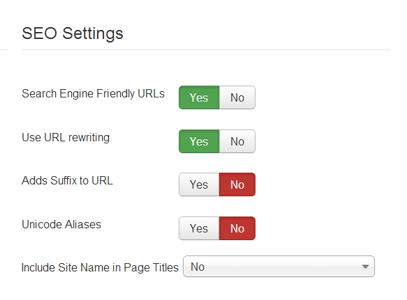 Inbuilt Joomla SEO settings