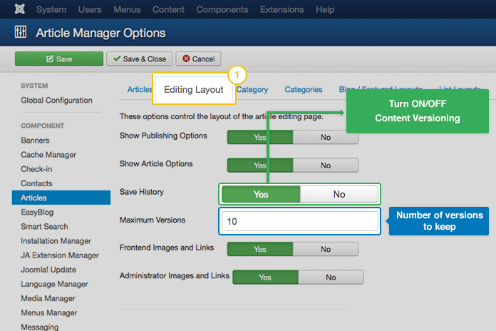 How to enable version control for content in Joomla