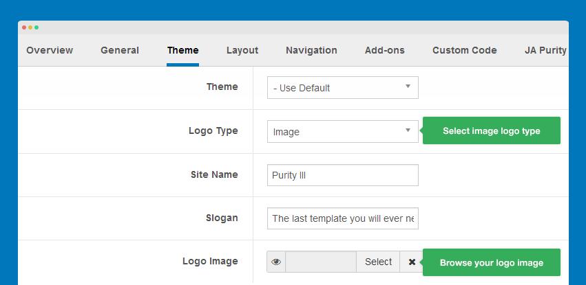 How To Customize Purity III Joomla Template Joomla Templates And - Logo layout templates