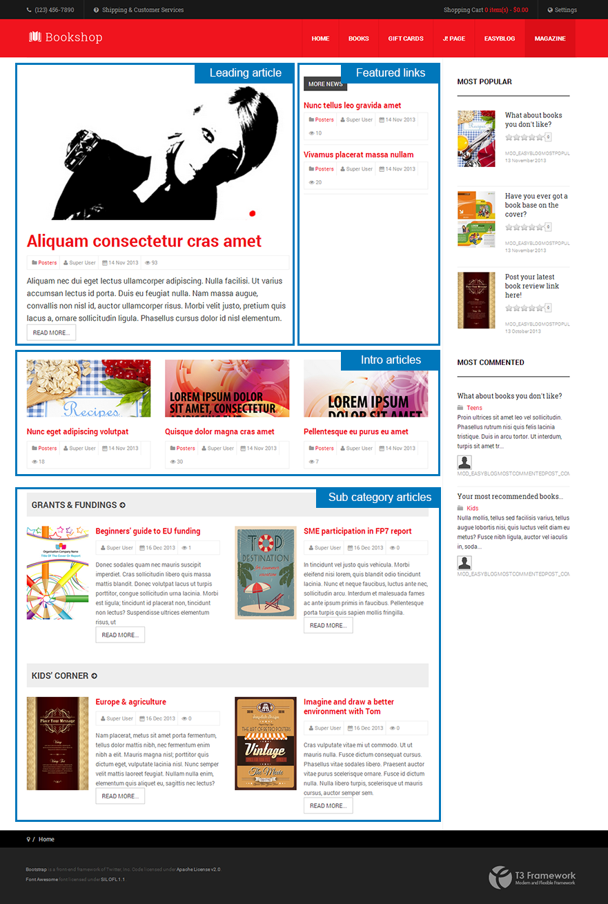 Magazine layout in JA Bookshop template