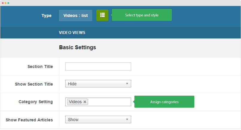 featured video setting