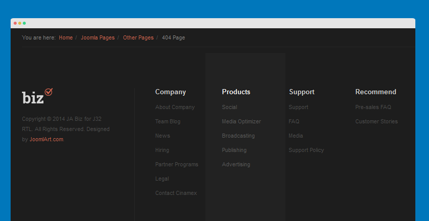 Products menu module