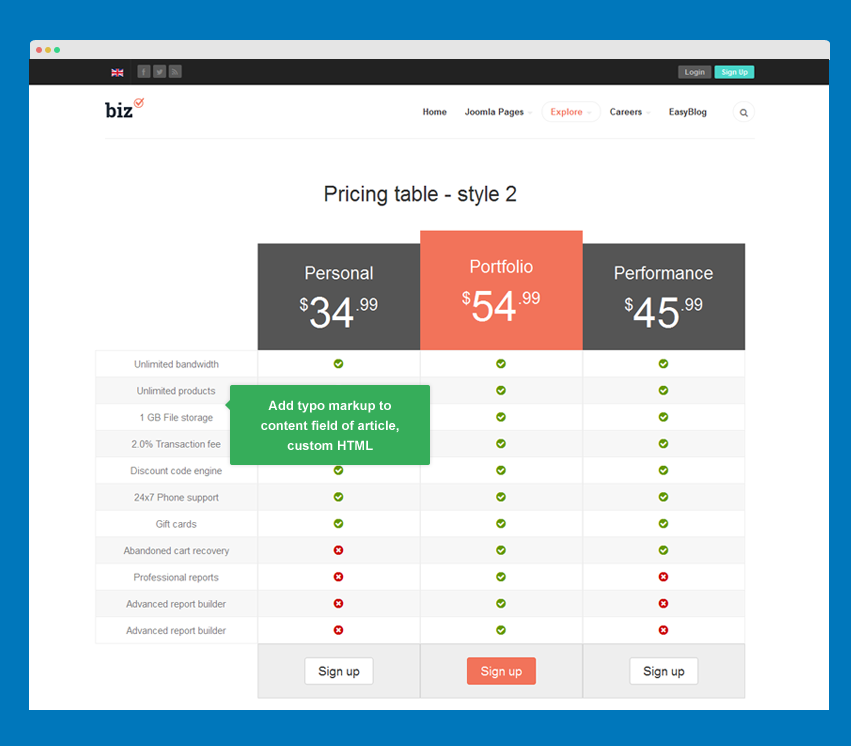 Pricing table style 2