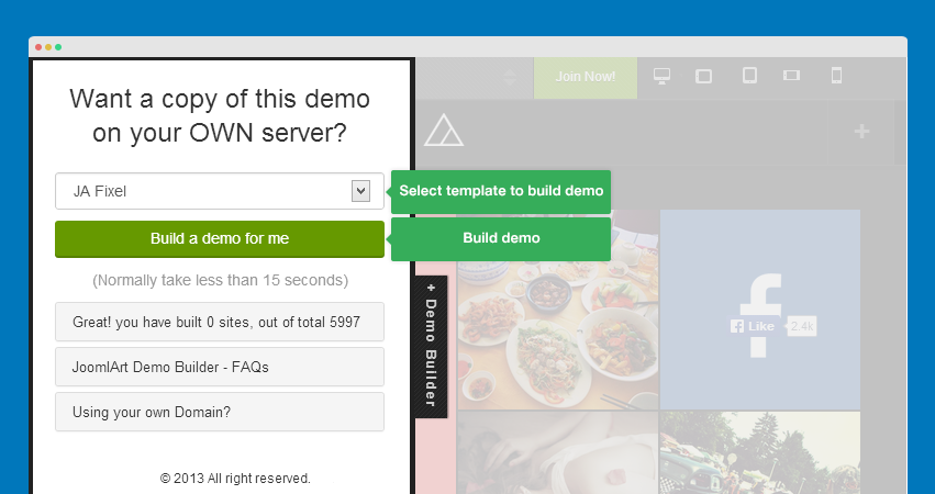 Demo Builder at JoomlArt