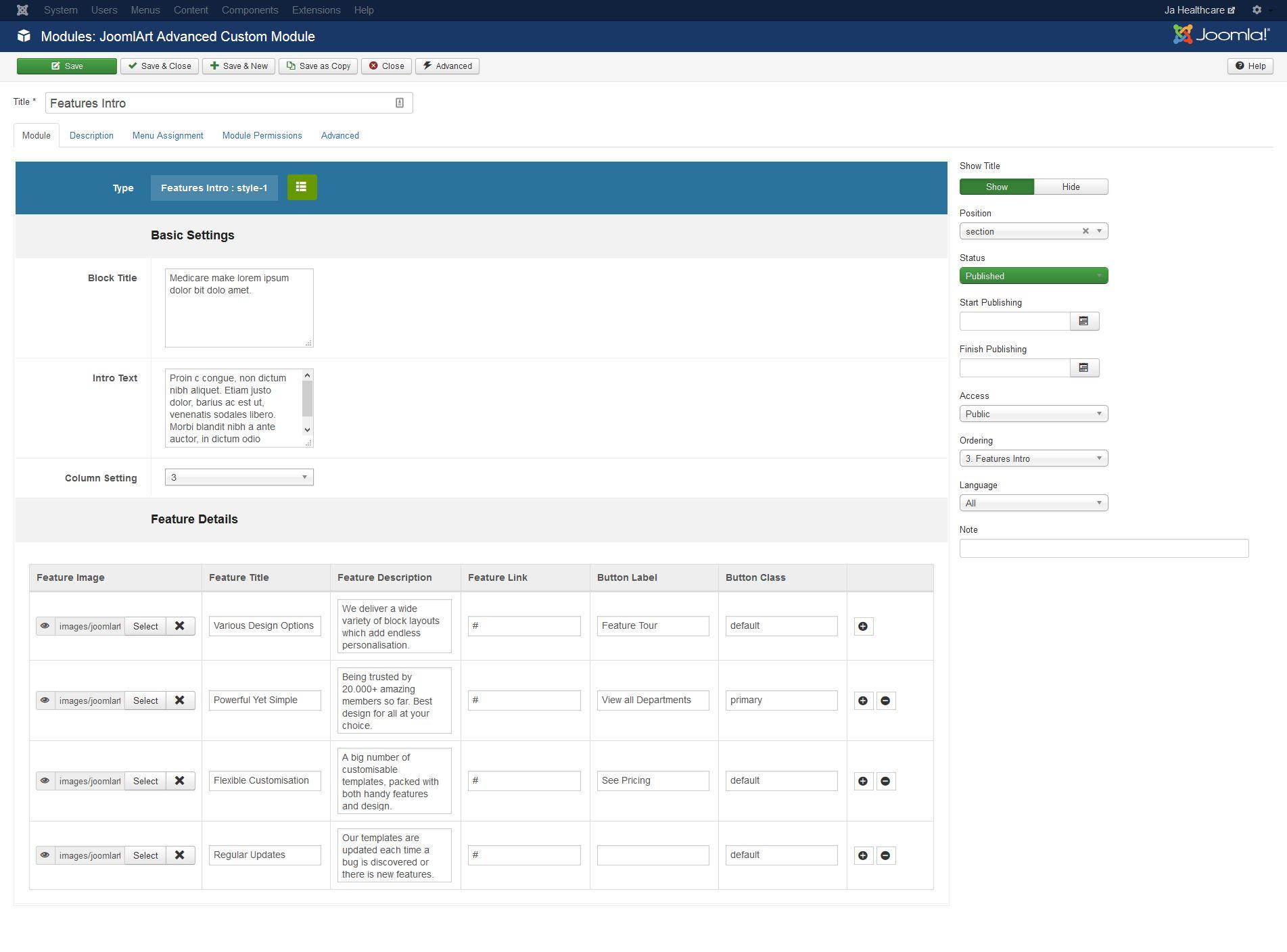 ja healthcare joomla templates and extensions provider
