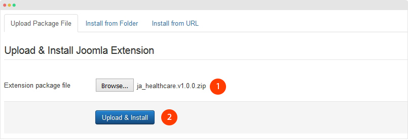 install JA Healthcare template